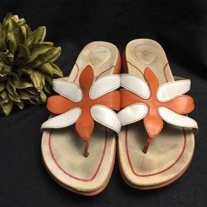 Dansko Sandals-Orange/White Pattern